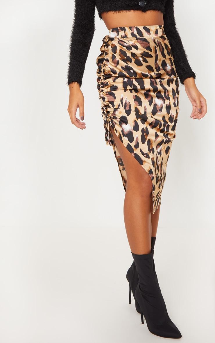 Leopard Print Satin Printed Ruched Side Midi Skirt 2