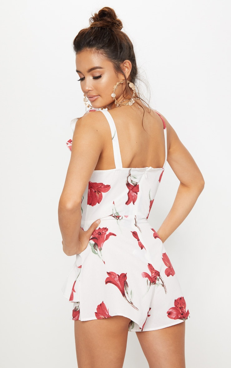 White Floral Frill Playsuit 2