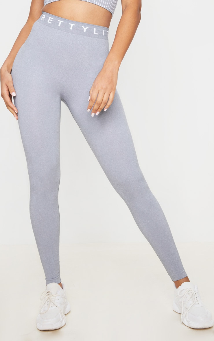 PRETTYLITTLETHING Grey Seamless Leggings 2