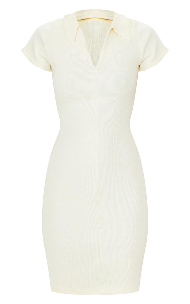 Cream Thick Rib Zip Up Polo Collar Bodycon Dress 6