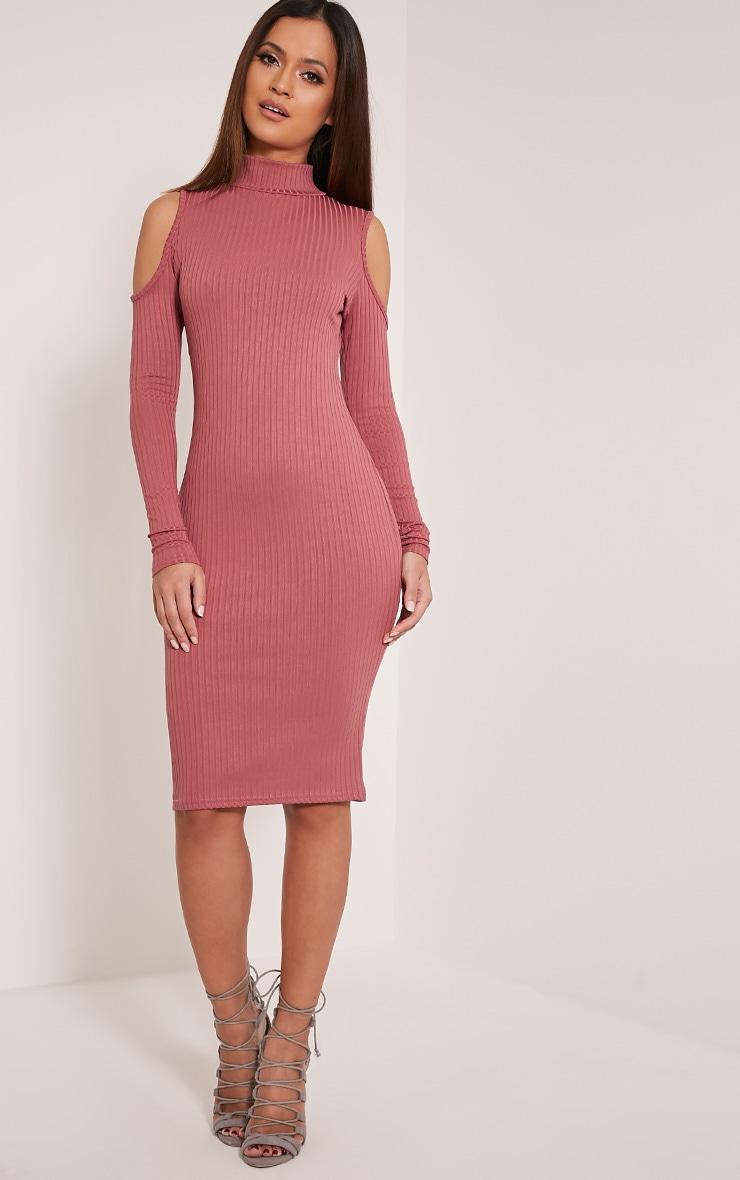 Kellie Rose Cold Shoulder Ribbed Bodycon Dress 1