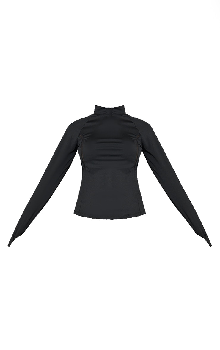 Black High Neck Half Zip Gym Top 5