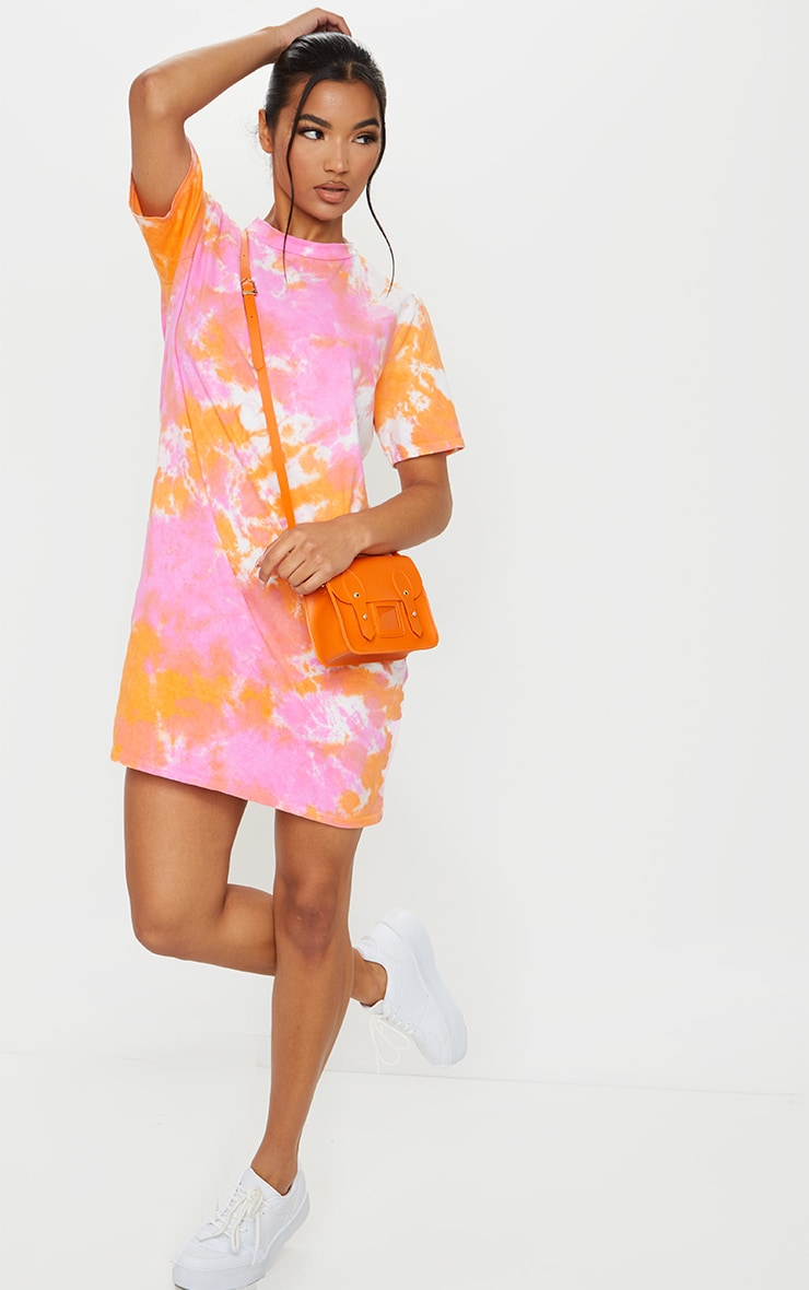 Orange Tie Dye T Shirt Dress 3