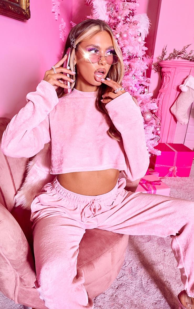 PRETTYLITTLETHING Shape Pink Diamante Velour Long Sleeve Sweater 1