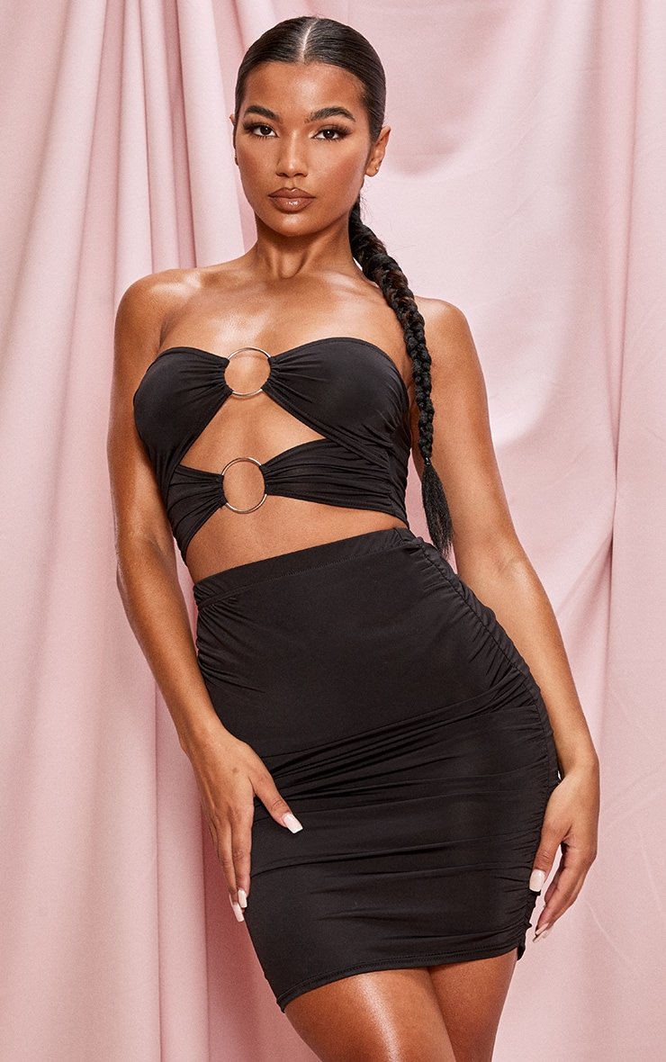 Black Ruched Slinky Mini Skirt 1