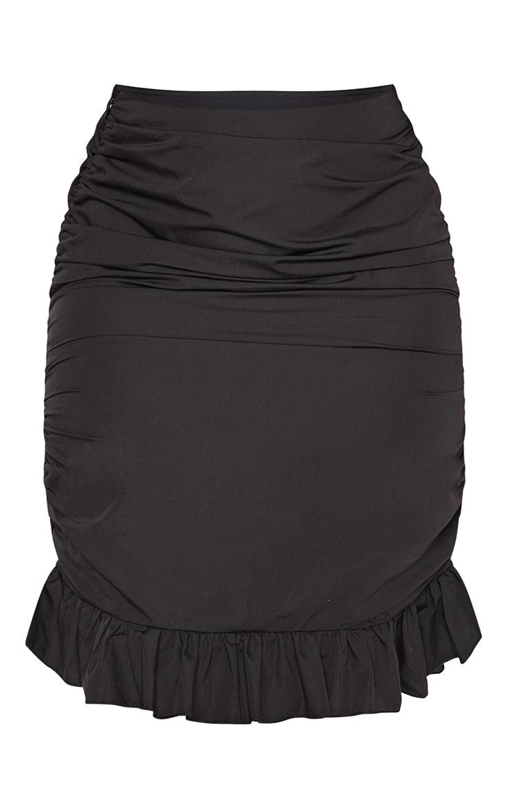 Black Ruched Detail Frill Hem Skirt 3