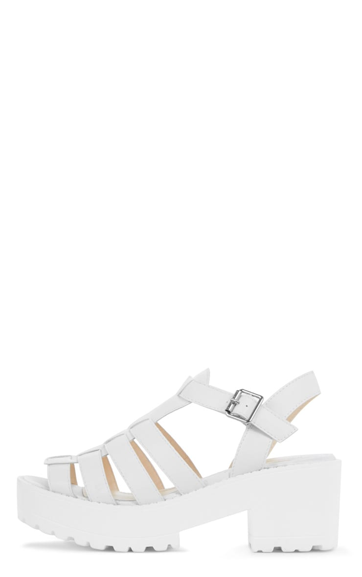 Nini White Cut Out Cleated Shoe 1