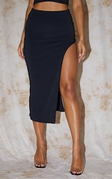Recycled Black Contour Jersey Curved Hem Midaxi Skirt 2