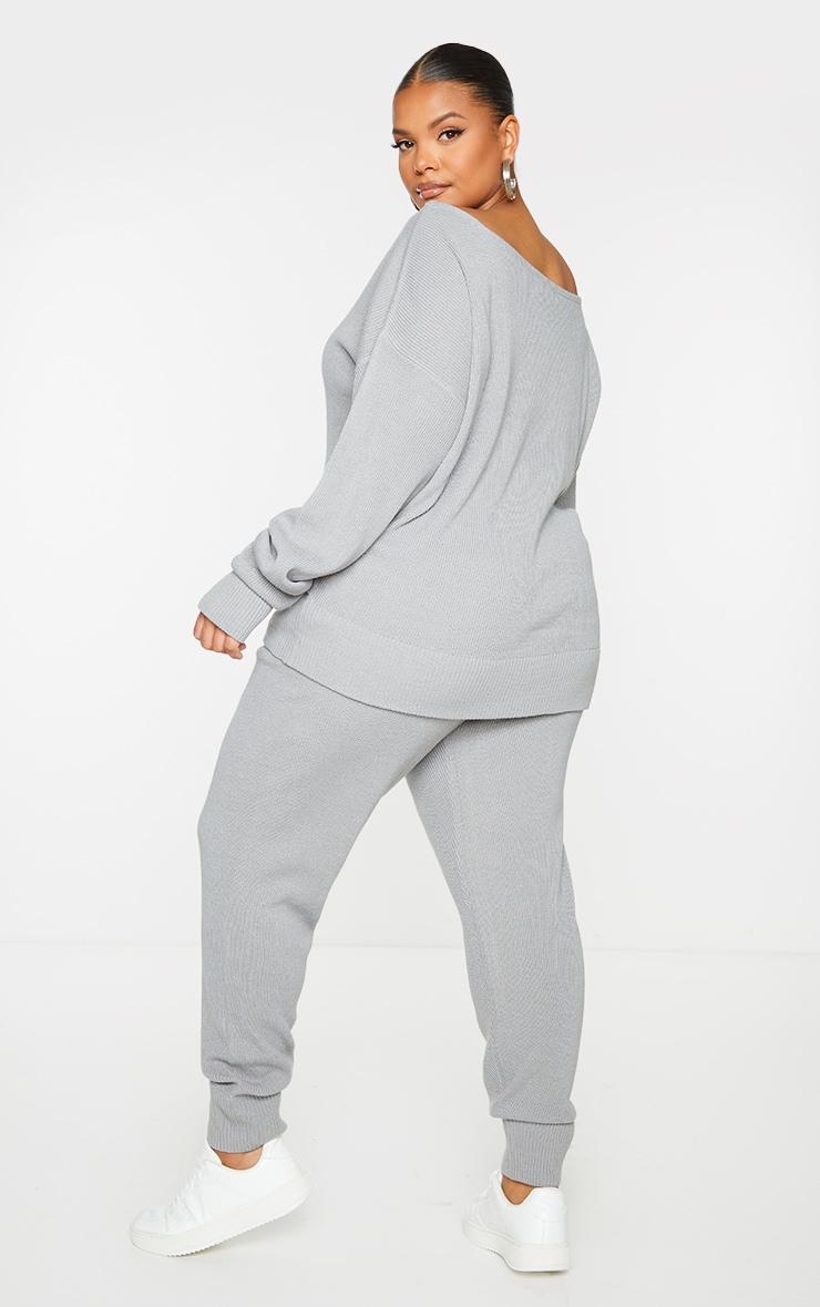 PLT Plus - Ensemble lounge en maille tricot grise 2