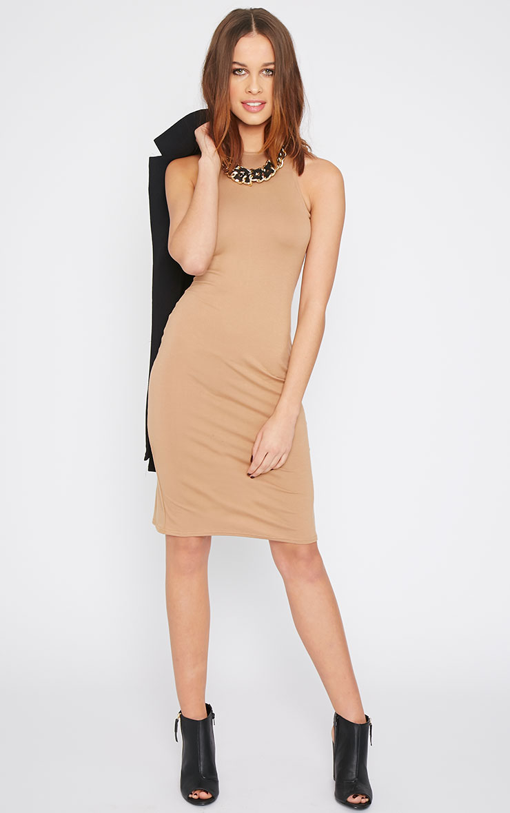 Basic Camel Racer Neck Midi Dress 3