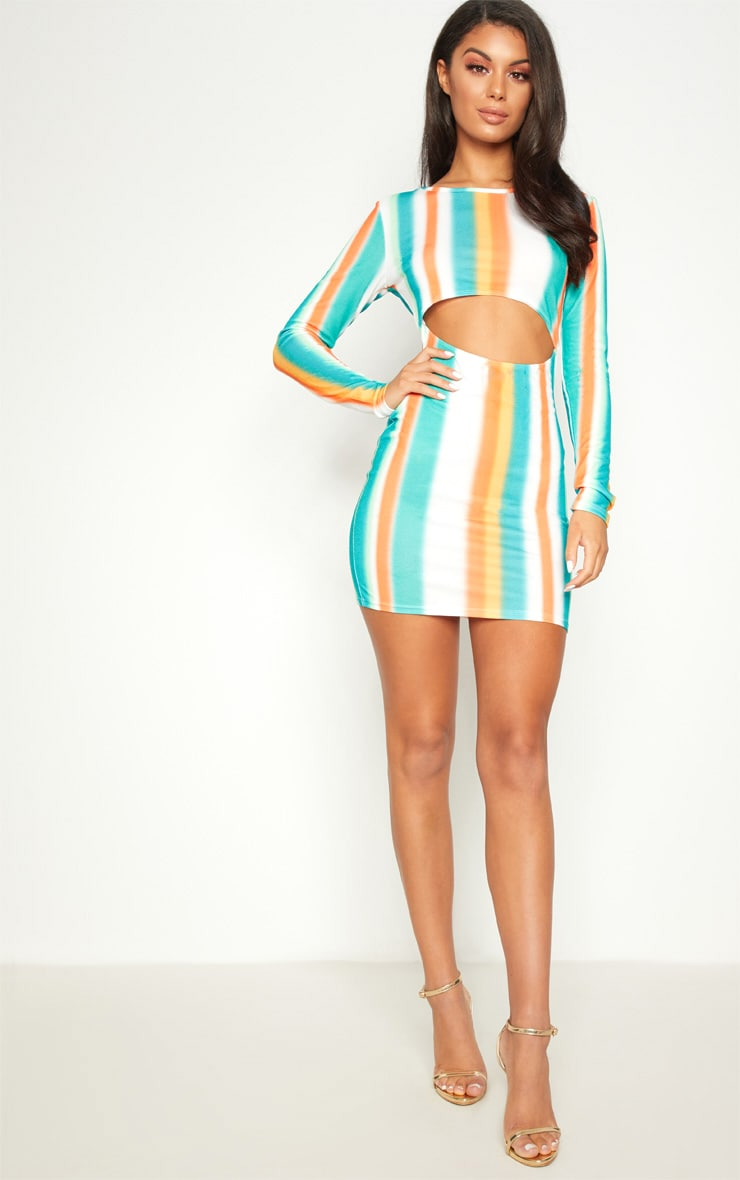 Multi Stripe Under Boob Long Sleeve Bodycon Dress 4
