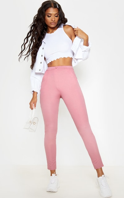 Rose Crepe Button Front Skinny Trouser
