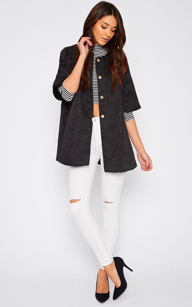 Cleo Black Jacquard Bell Coat  3