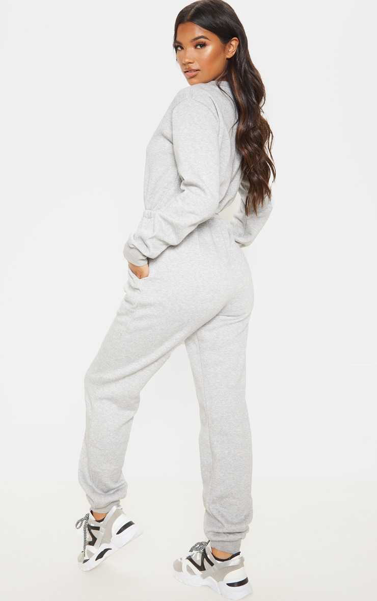Grey California Long Sleeve Sweat Jumpsuit 4