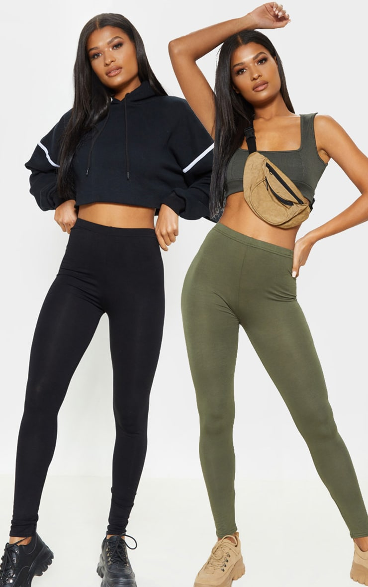 Basic Black and Khaki Jersey Leggings 2 Pack 1