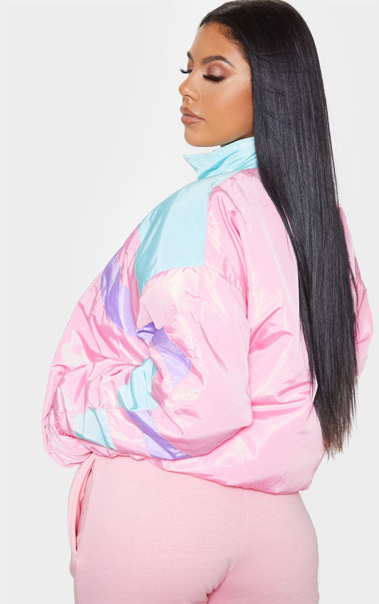 Pink Padded Stripe Detail Bomber 2