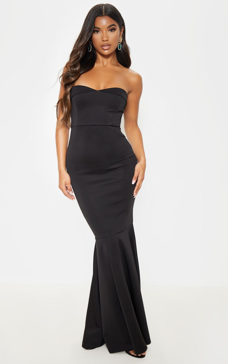 Black Bandeau Fishtail Maxi Dress