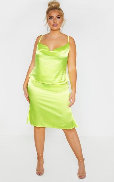 Plus Neon Yellow Satin Flare Hem Midi Skirt