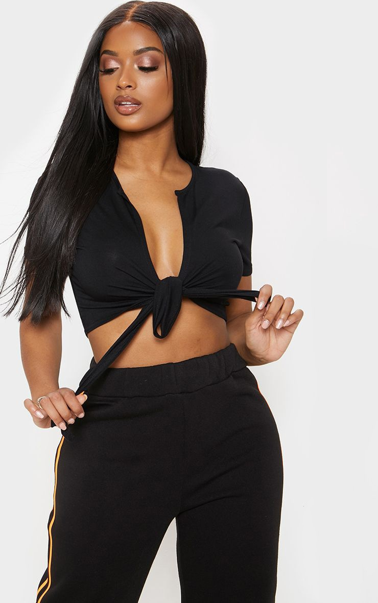 Shape Black Jersey Tie Front Crop Top 1