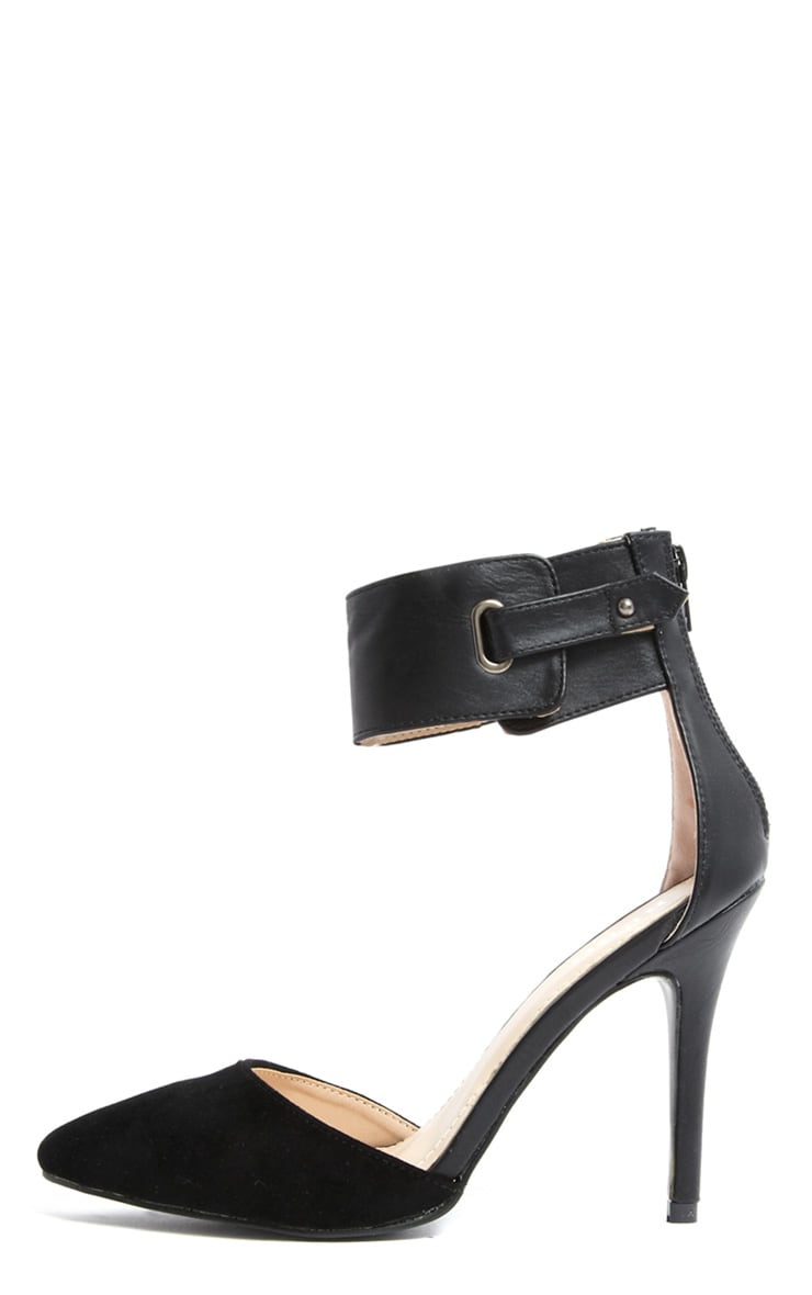 Katherine Black Pointed Strap Heels 1