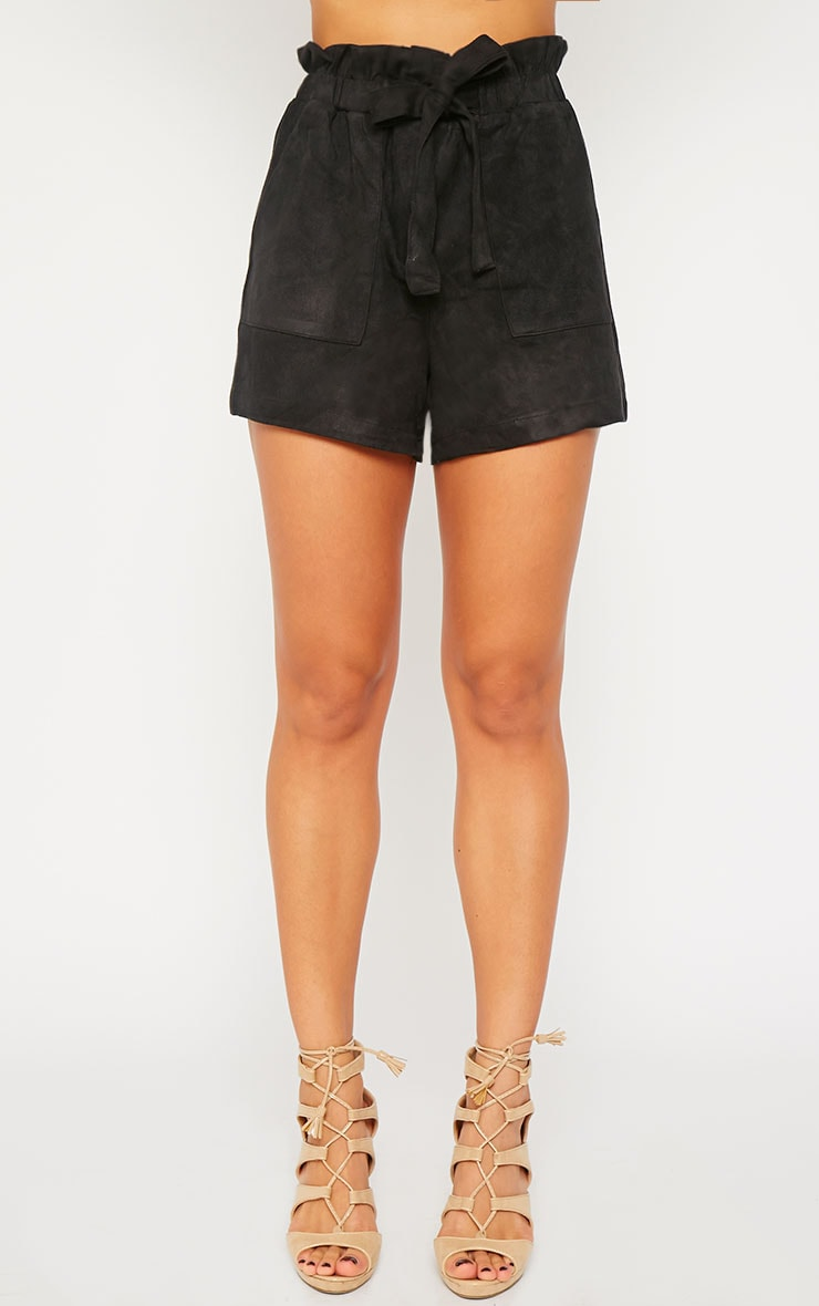 Trudy Black Suede Shorts 2