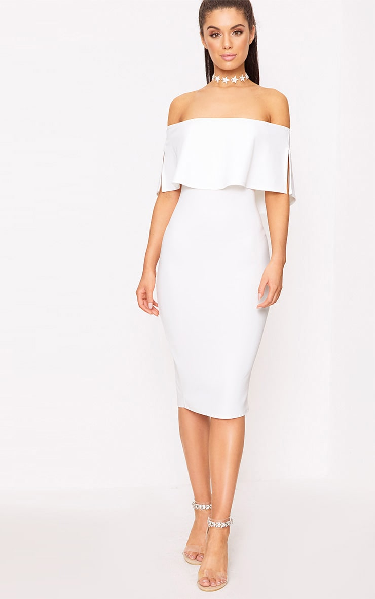 White Bardot Frill Midi Dress 1