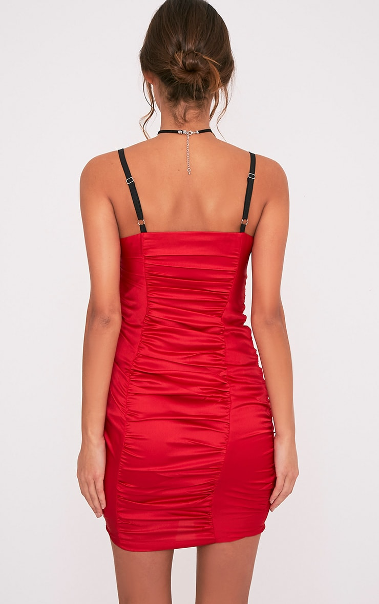 Lauriana Red Satin Strappy Ruched Bodycon Dress 2