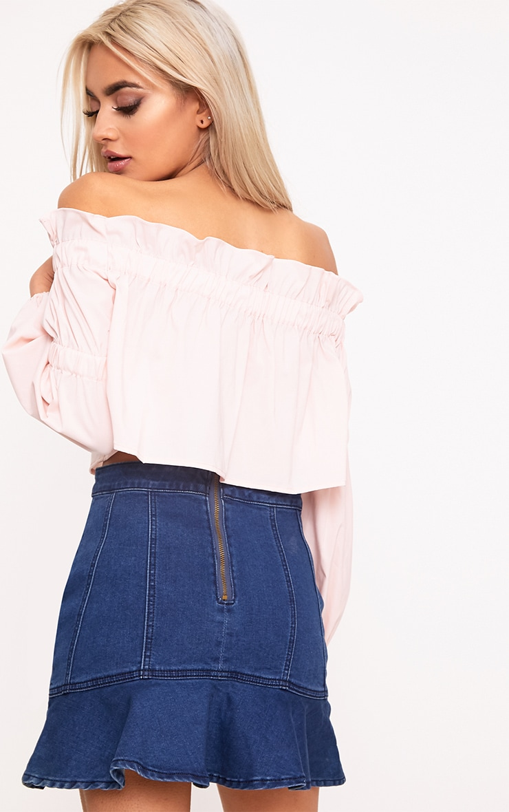 Femi Pink Bardot Frill Ruched Sleeve Top  2