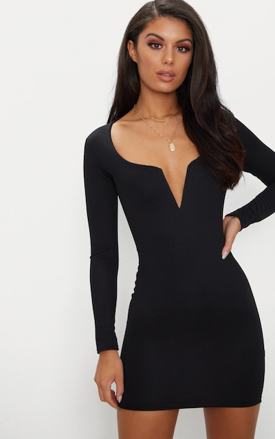 3320318143 Black Long Sleeve V Bar Plunge Bodycon Dress