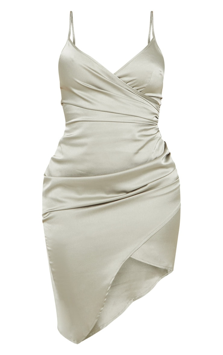 Shape Sage Green Satin Wrap Dress 3