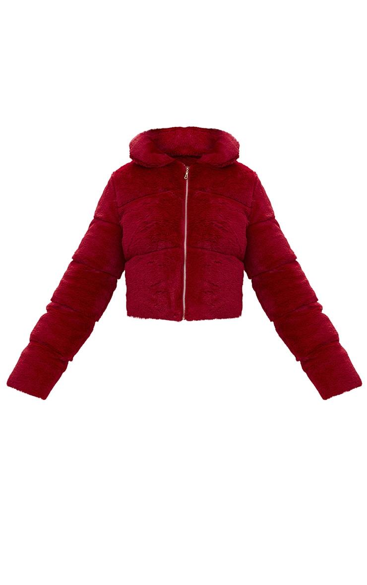Burgundy Faux Fur Puffer Jacket 3
