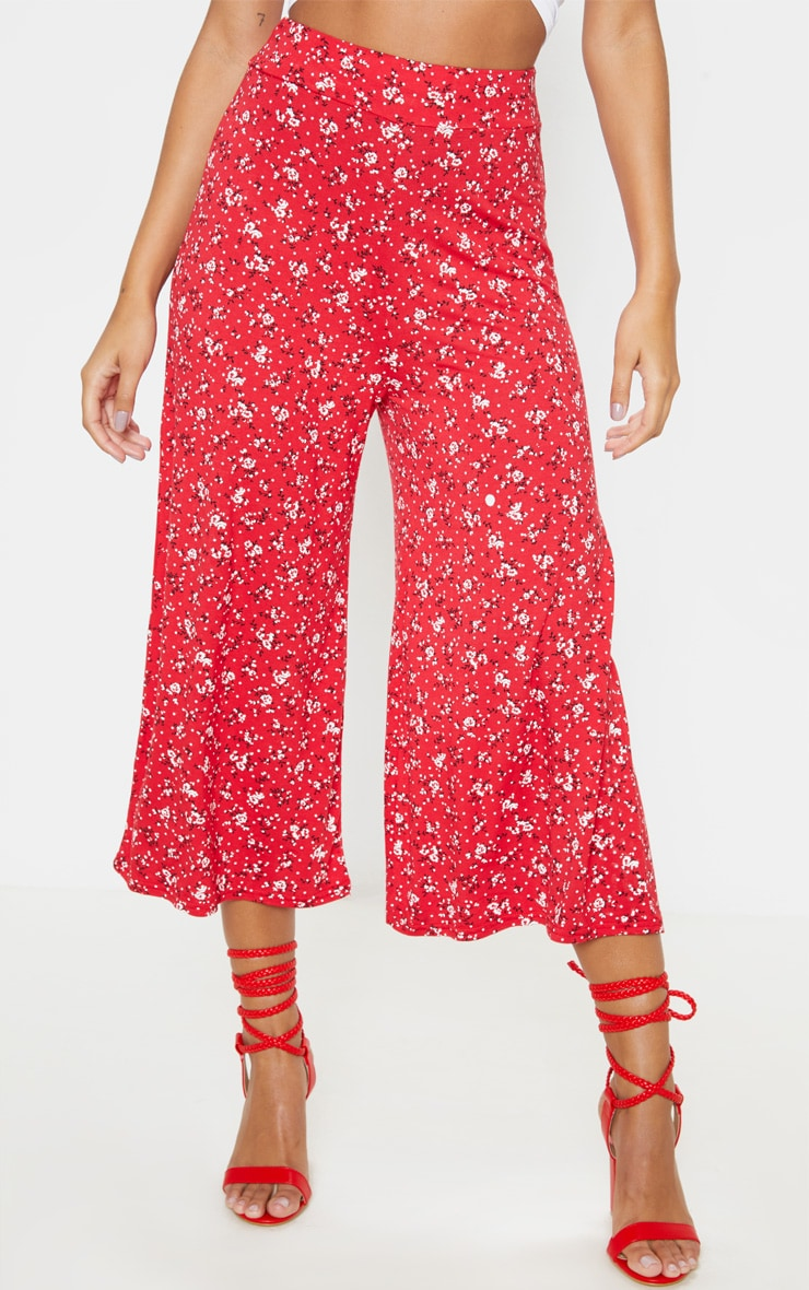 Red Ditsy Floral Printed Basic Culotte 2
