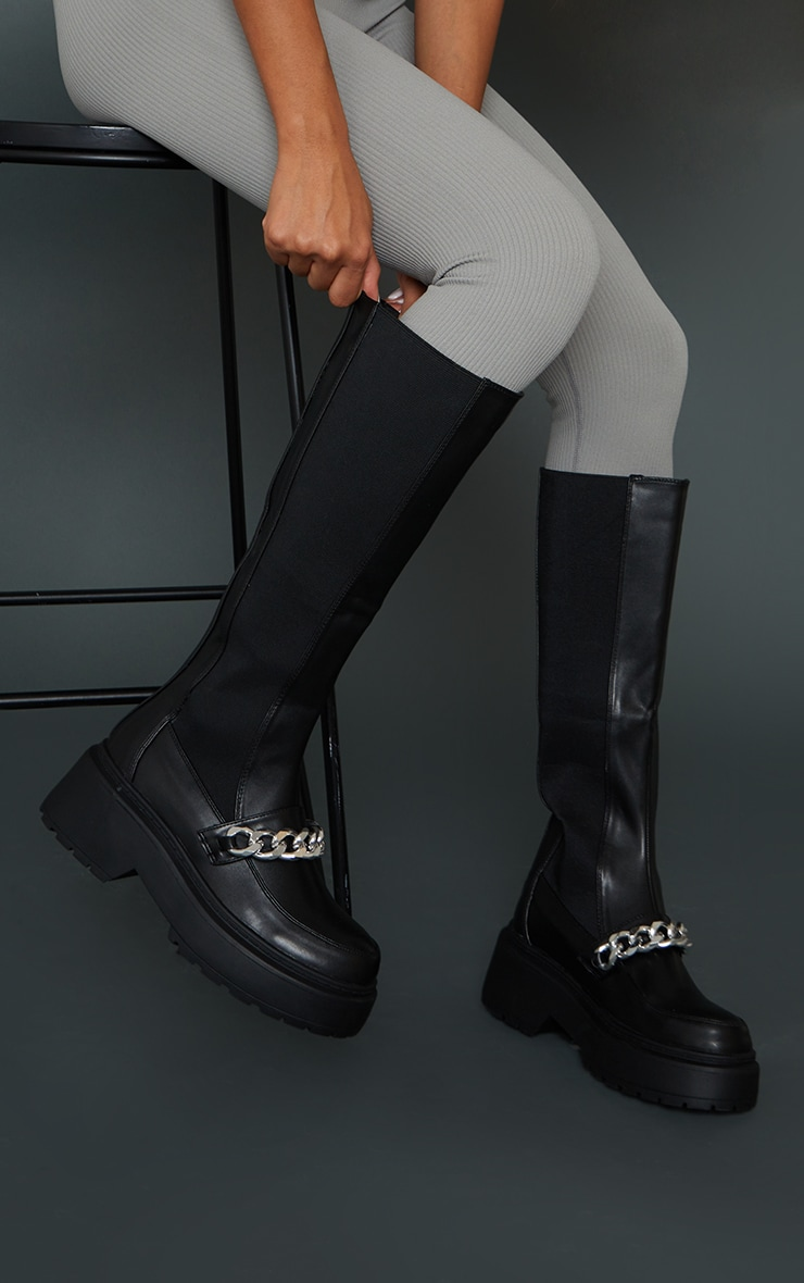 Black Faux Leather Chain Detail Elasticated Knee Boots 1