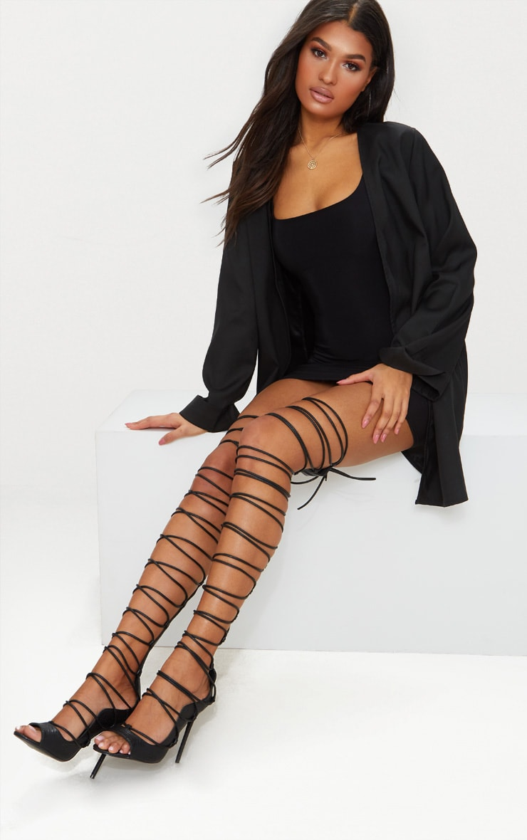 Black Thigh High Lace Up Heels 1