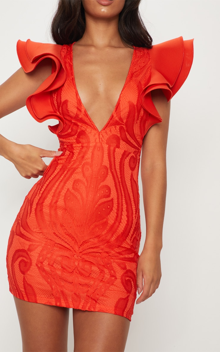 Red Lace Ruffle Detail Plunge Bodycon Dress 5