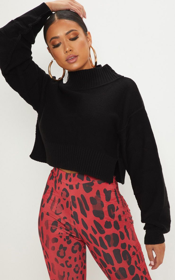 Petite Black Cropped Sweater 1
