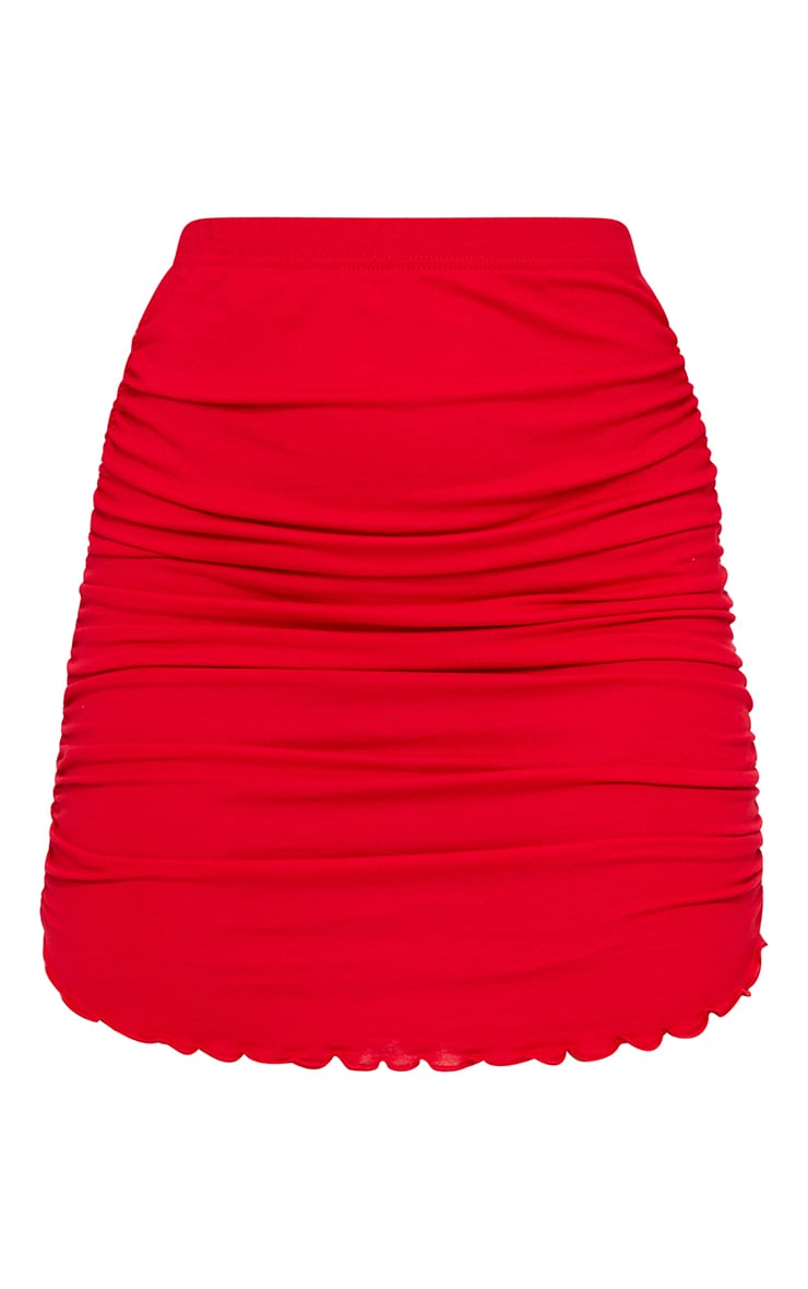 Red Ruched Side Lettuce Hem Mini Skirt 6