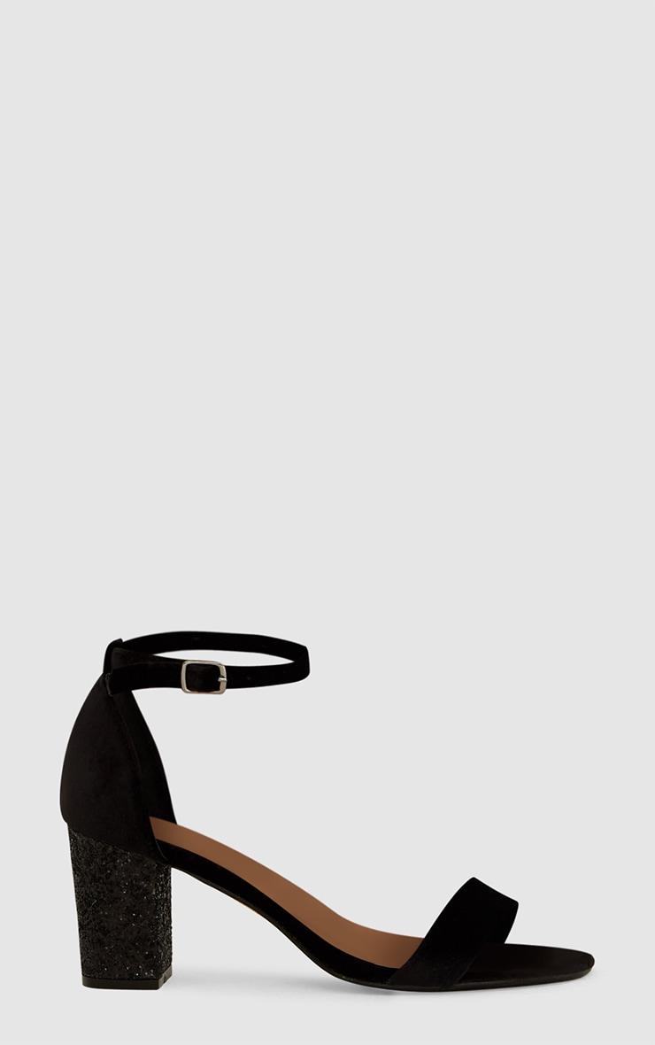 Black Glitter Low Heeled Sandals  3