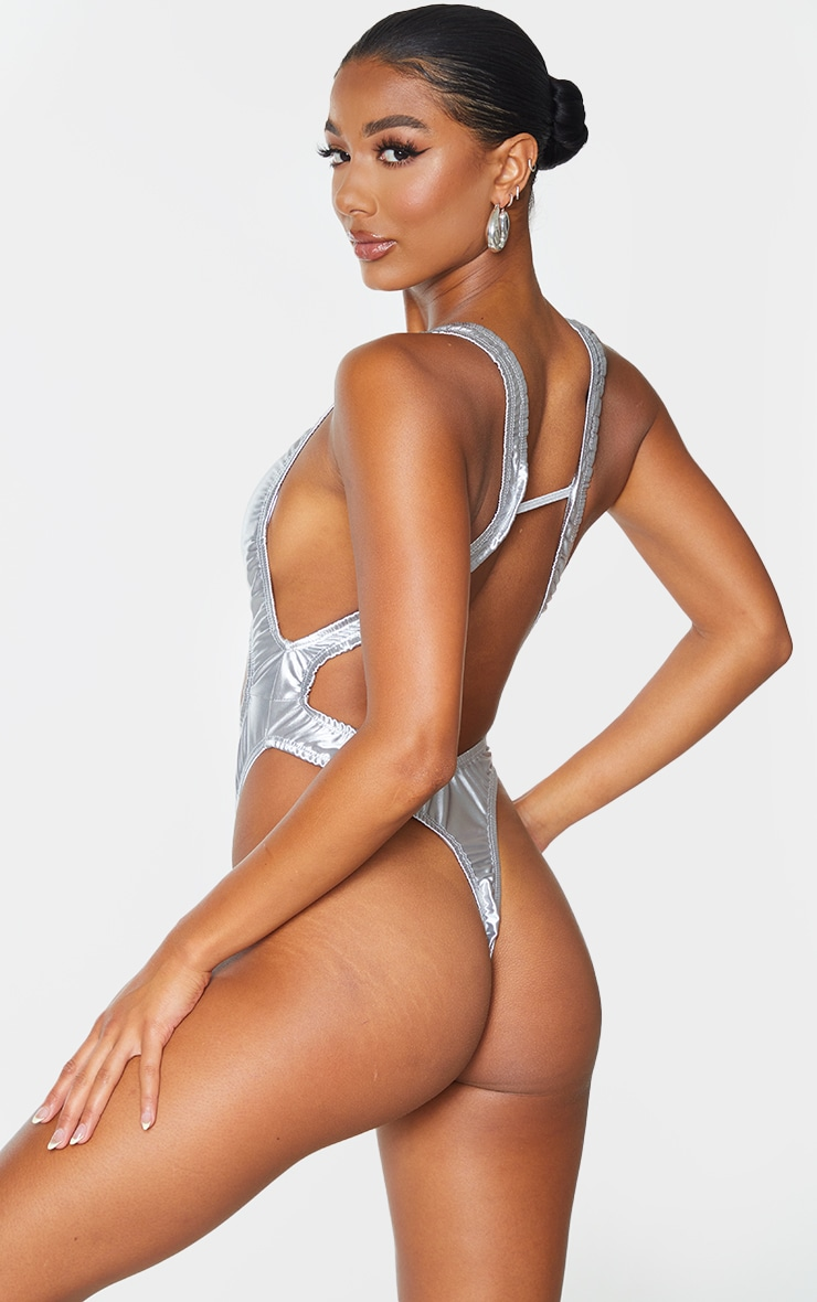 Silver Satin Look Cut Out Ring Front Swimsuit 2