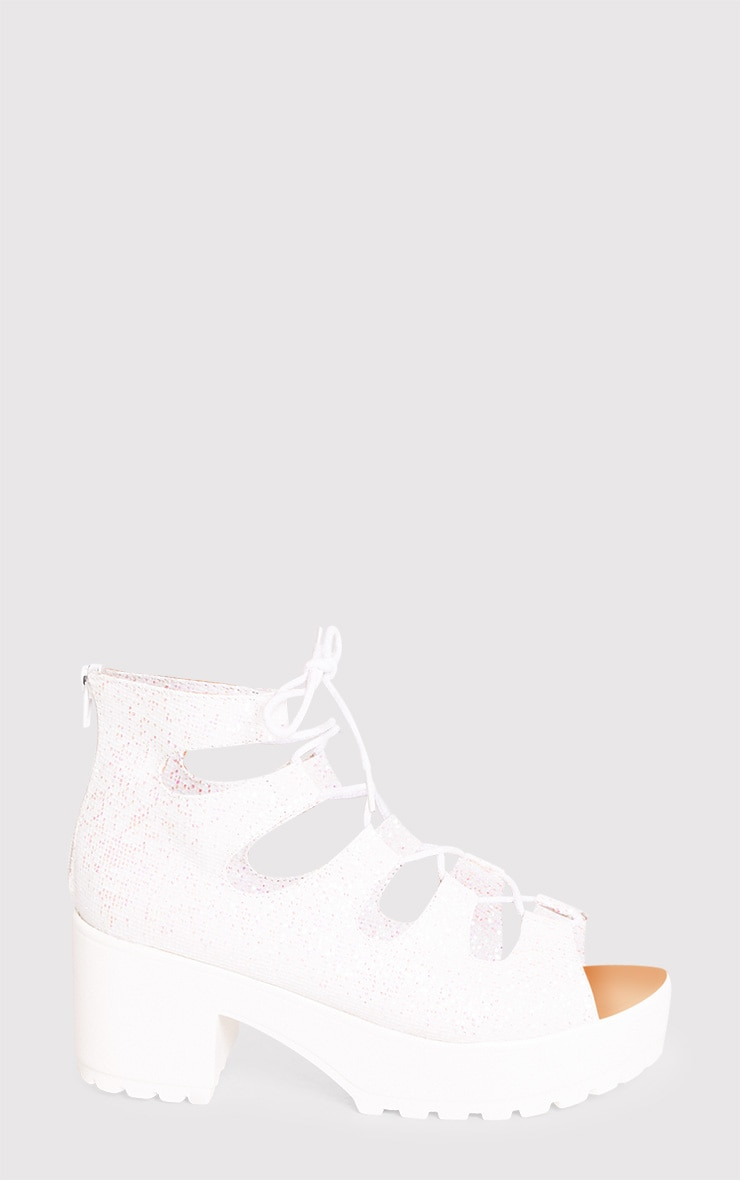 Caprice White Metallic Lace Up Sandals 2