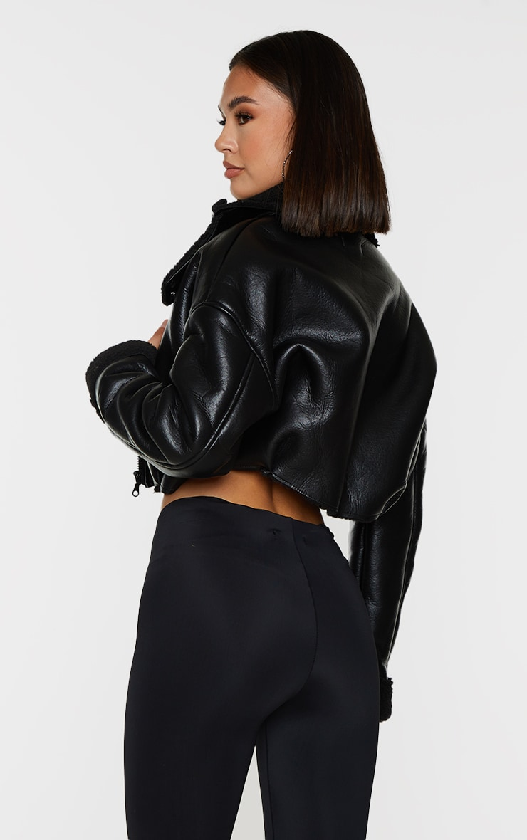 Black Faux Leather Borg Lined Super Cropped Aviator Jacket 2