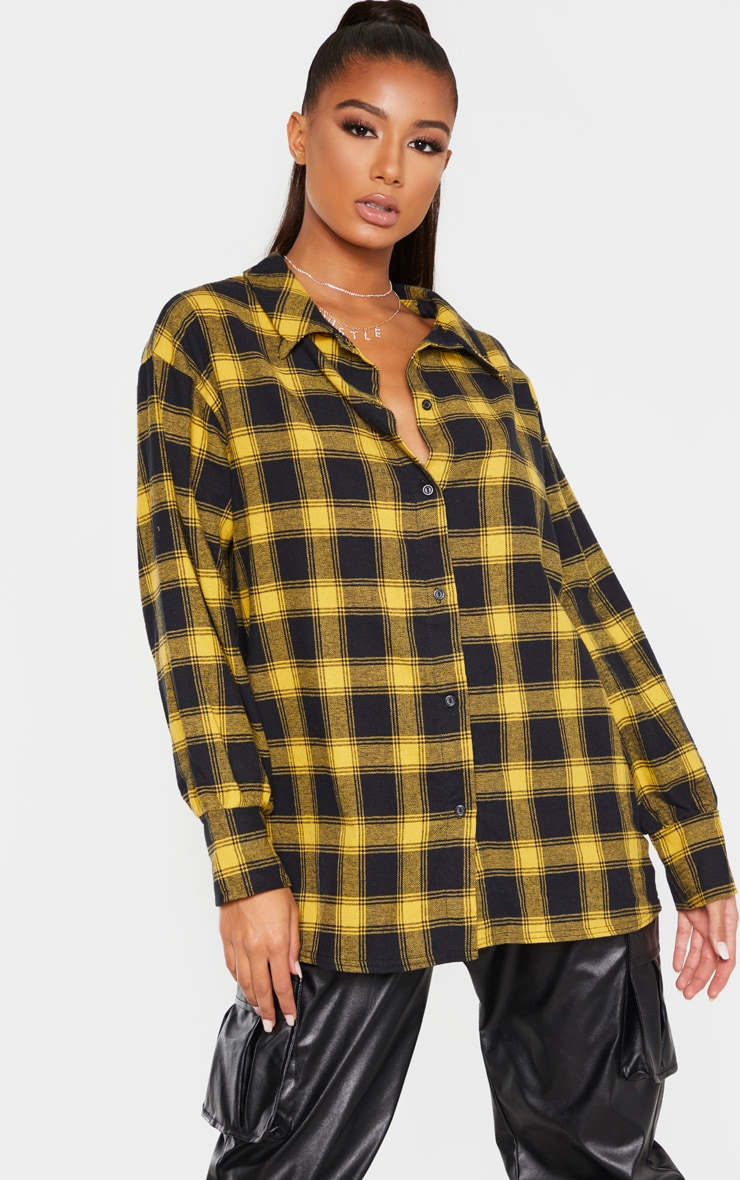 Yellow Checked Oversized Shirt 1