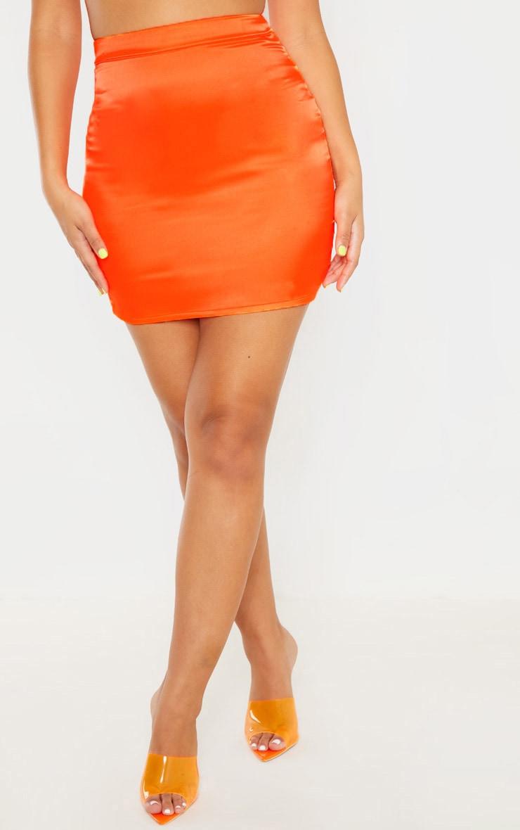 Neon Orange Satin High Waisted Mini Skirt 2