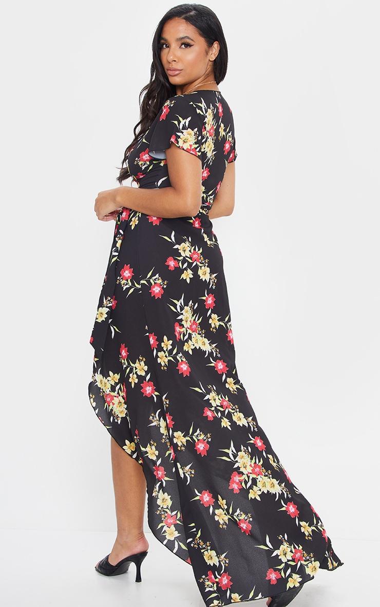 Black Floral Wrap Tie Waist Maxi Dress 2
