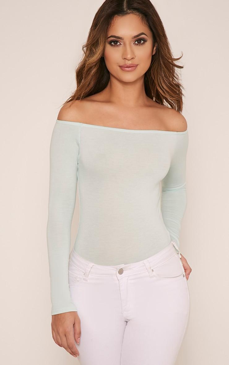 Basic Mint Bardot Bodysuit 1