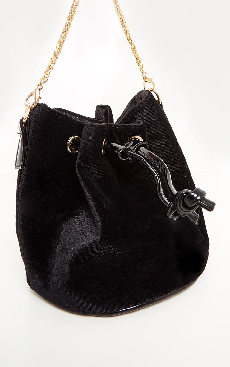 Black Crushed Velvet Mini Duffle Bag 2