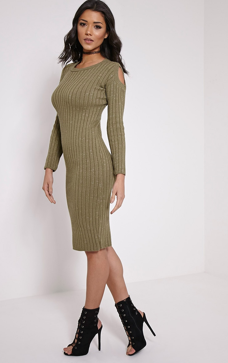Paloma Khaki Ribbed Cut Out Shoulder Knitted Dress 3
