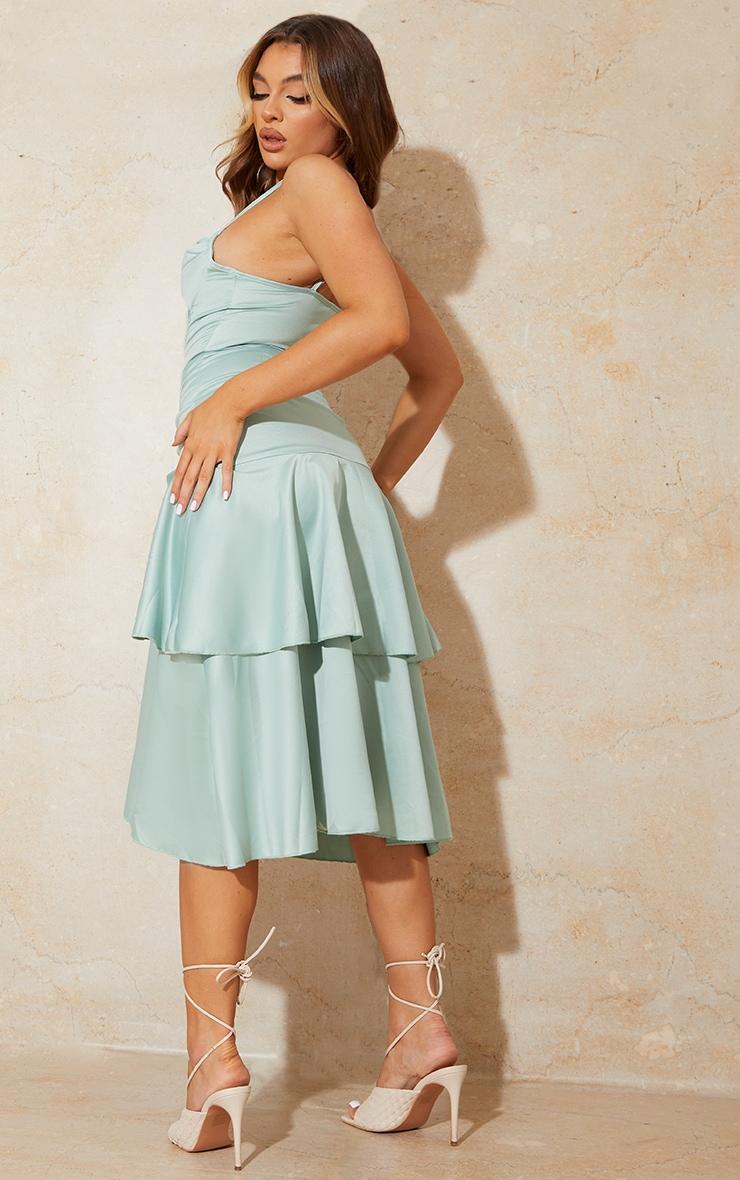Sage Green Satin Corset Cowl Strappy Midi Dress 2