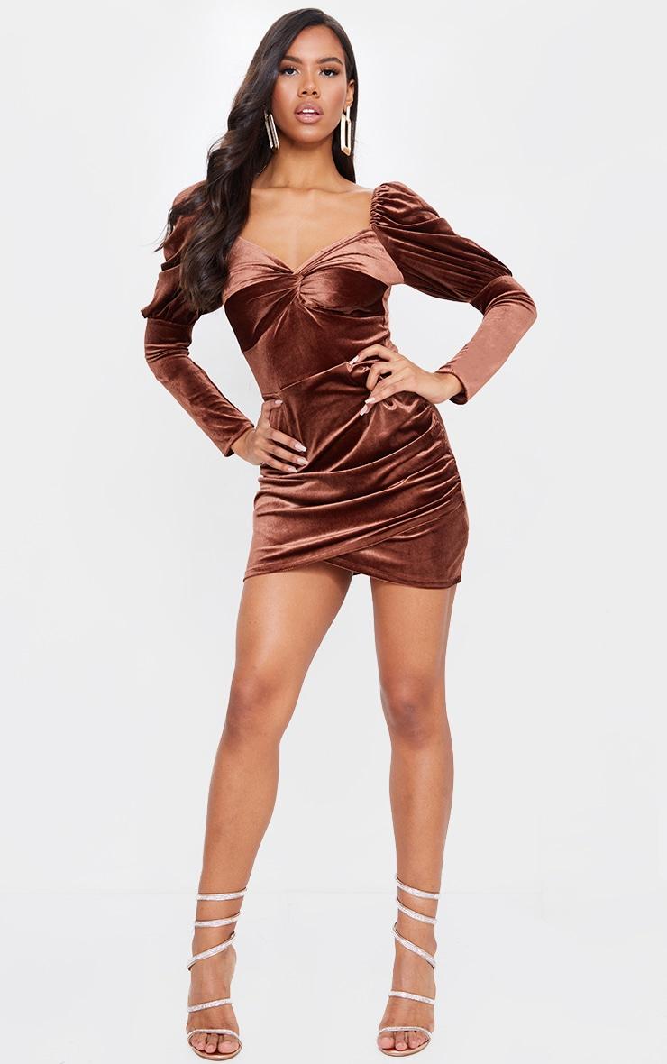 Chocolate Velvet Puff Sleeve Twist Detail Bodycon Dress 1