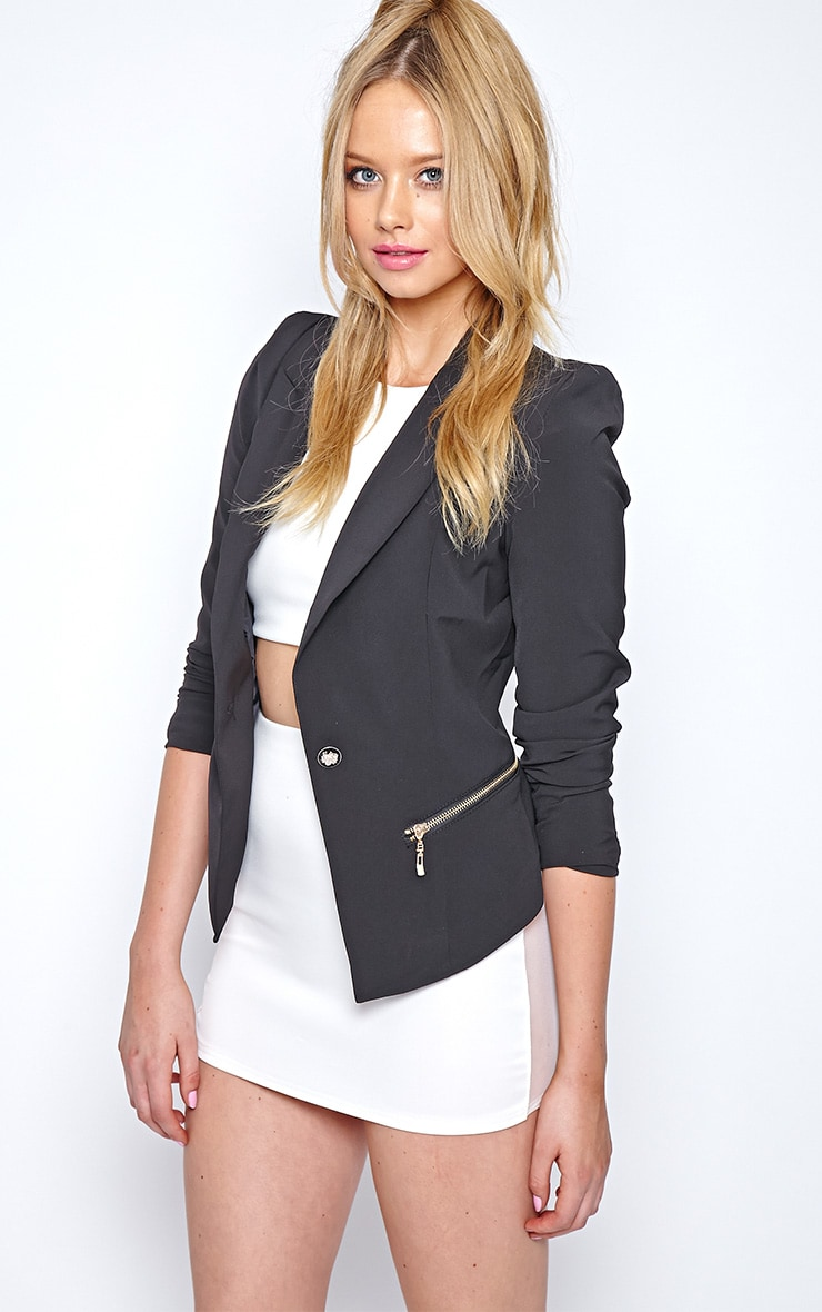 Calista Black Zip Detail Blazer 1